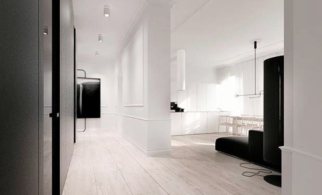 poland loft apartment black white open floor plan decor design architecture