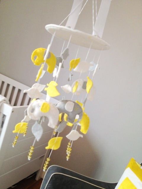 handmade yellow, gray and white crib mobile