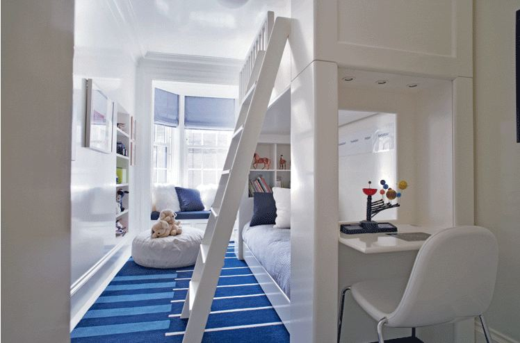 Good clean and modern bedroom with white bunk beds and blue carpet