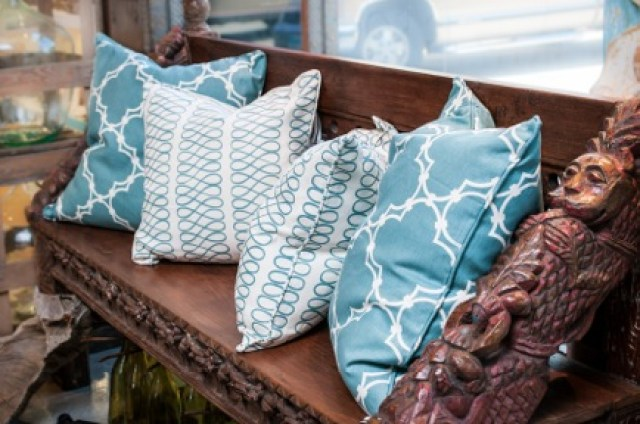 COCOCOZY pillows light blue loop quatrefoil carved bench furniture store display Peluche Decor Houston