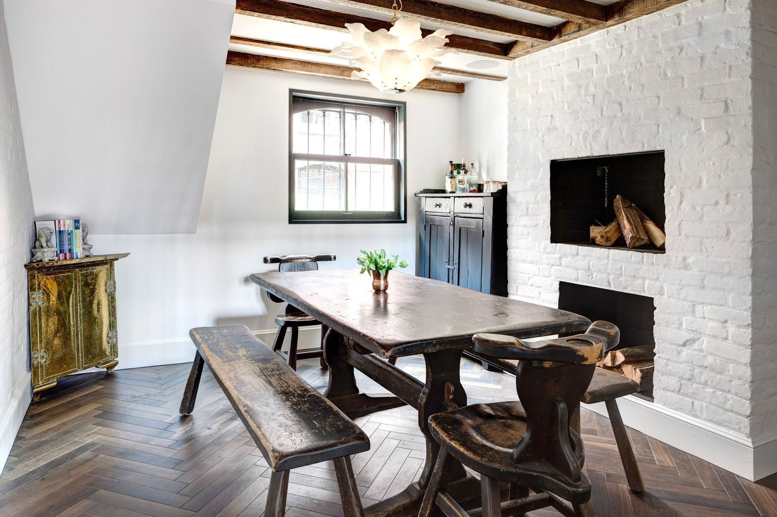 Dining Room With Reclaimed Wood Table And Benches