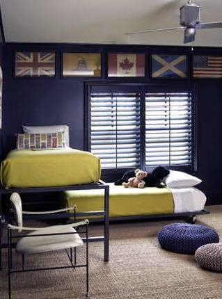 Popular Modular bunk beds u Navy room with metal beds that are only partially stacked on top of each other above