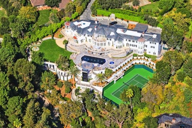 aerial view Liongate Estate 616 Nimes Road Bel Air mansion estate