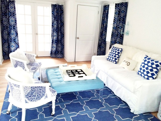 Blue and white living room in an East Hampton home