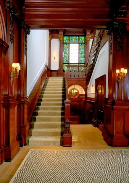 Wood paneled foyer in a historic San Francisco mansion