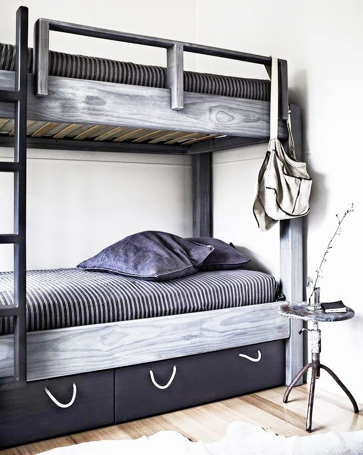 Lovely Modern rustic u A modern bunk bed with unfinished wood elements in black white and gray above