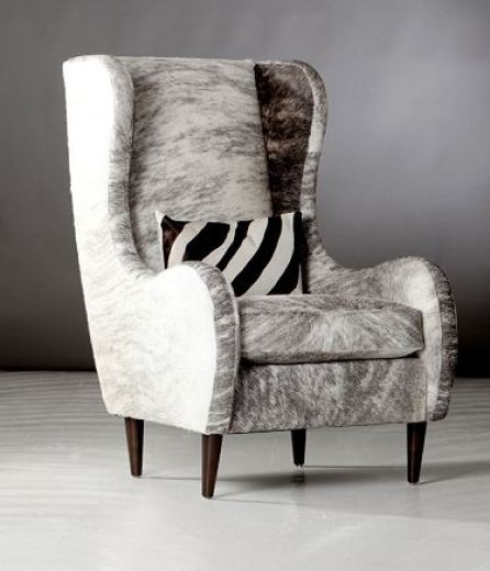 Feather grey hide upholstered wing back chair
