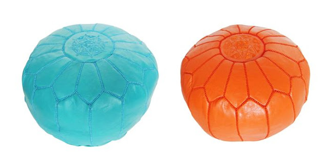 Turquoise and orange leather Moroccan Poufs from COCOCOZY