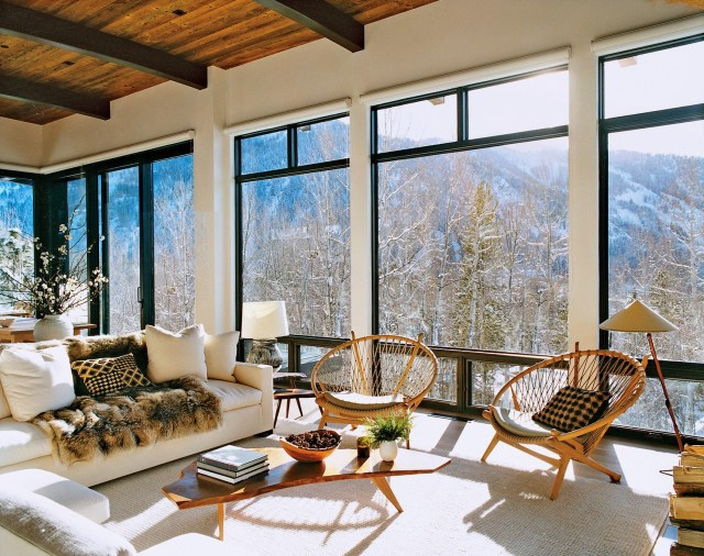 Aerin Lauder's modern winter home in Aspen with floor to ceiling windows