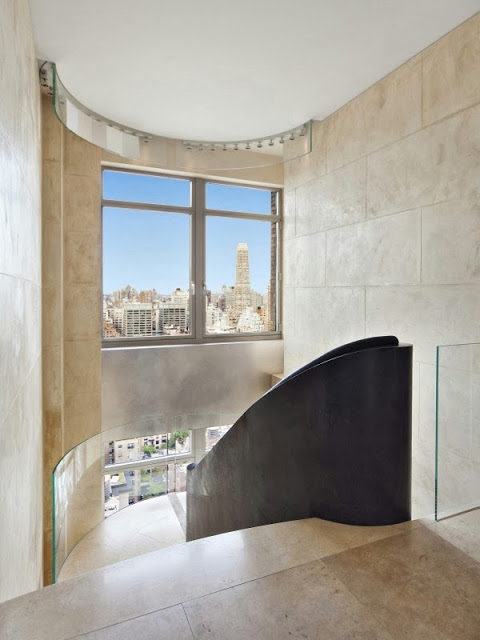 Architectural steel railing on the stairs in a NYC penthouse apartment