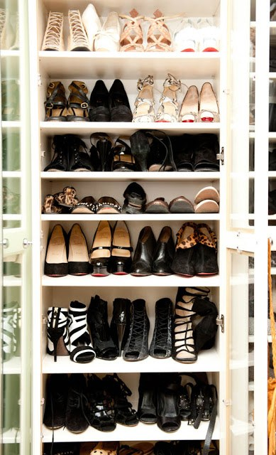 Shoe shelf with a glass front to show of her fantastic shoe collection
