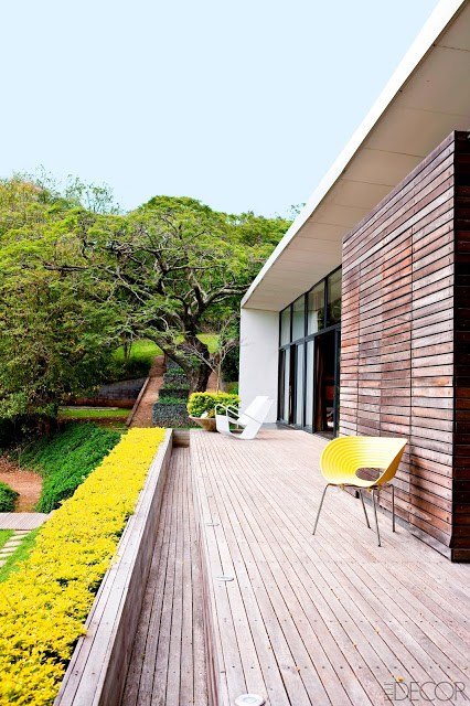 sleek, sparsely decorated wooden deck with a yellow chair that matches the yellow hedge