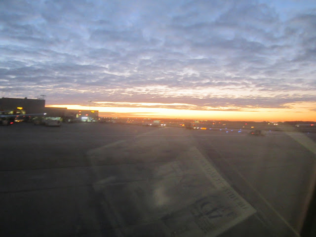 Sunrise from an airplane window in Atlanta