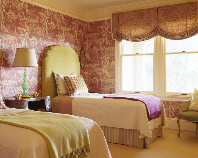 Beautiful Twin bedroom with pink toile wallpaper super tall green and white poka doted upholstered