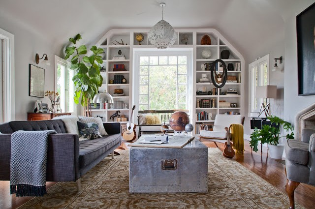 living room eclectic mid century modern home furnishings international tufted sofa built in book shelves window