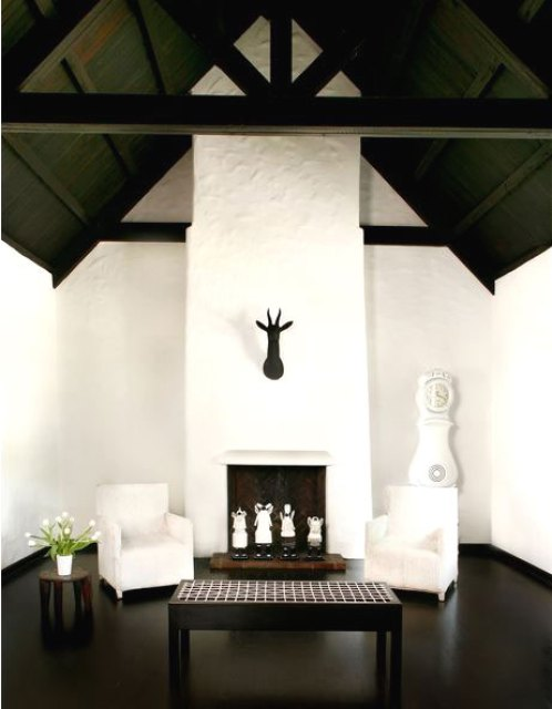 Black and white living room with fireplace