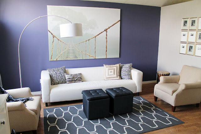 Panel perfect diy living room before after cococozy - Purple feature wall living room ideas ...