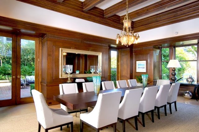 Wood paneled dining room in a historic San Francisco mansion