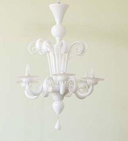 Opaque white Murano glass chandelier
