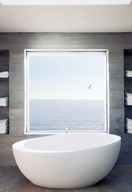 Modern egg style tub with a view