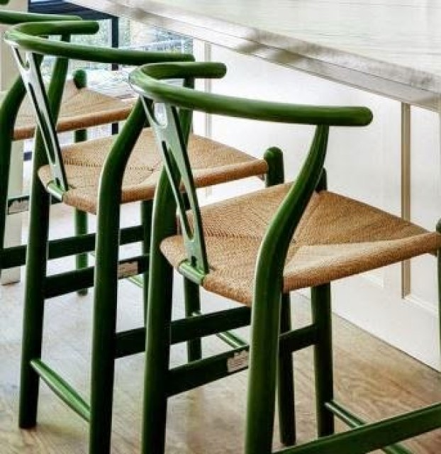 Green mid-century modern counter stools