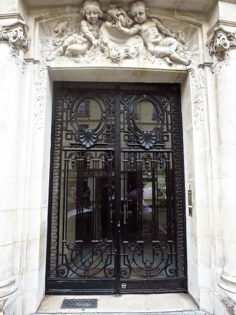 Metal and glass door in Paris, France