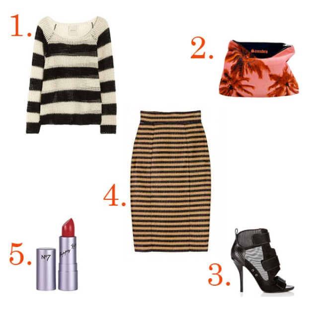 Striped black and white knit sweater, striped gold and black skirt, red lipstick, black heels with mesh details and a pink and red palm tree print bag