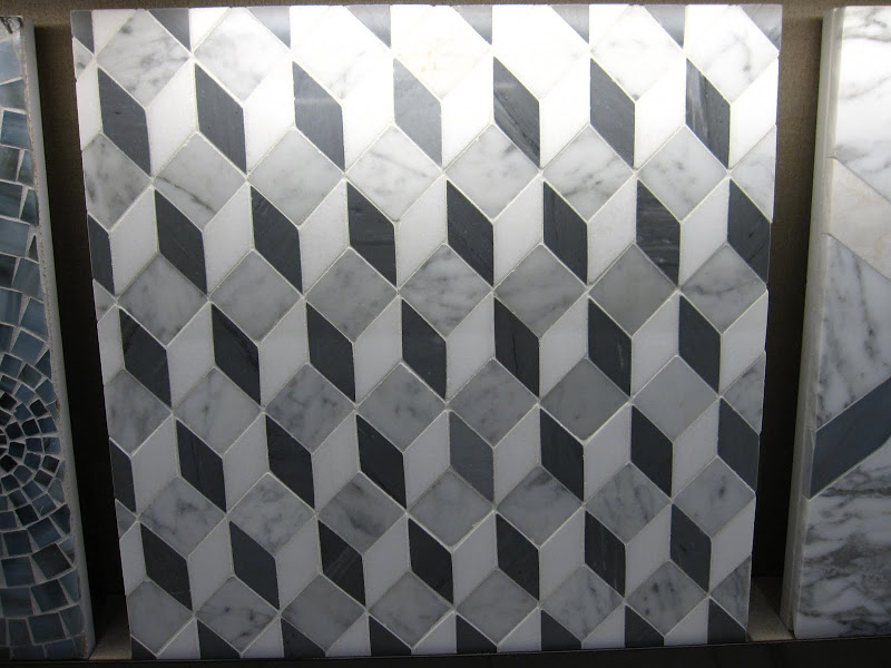 Marble mosaic prism patterned tile from the Waterworks