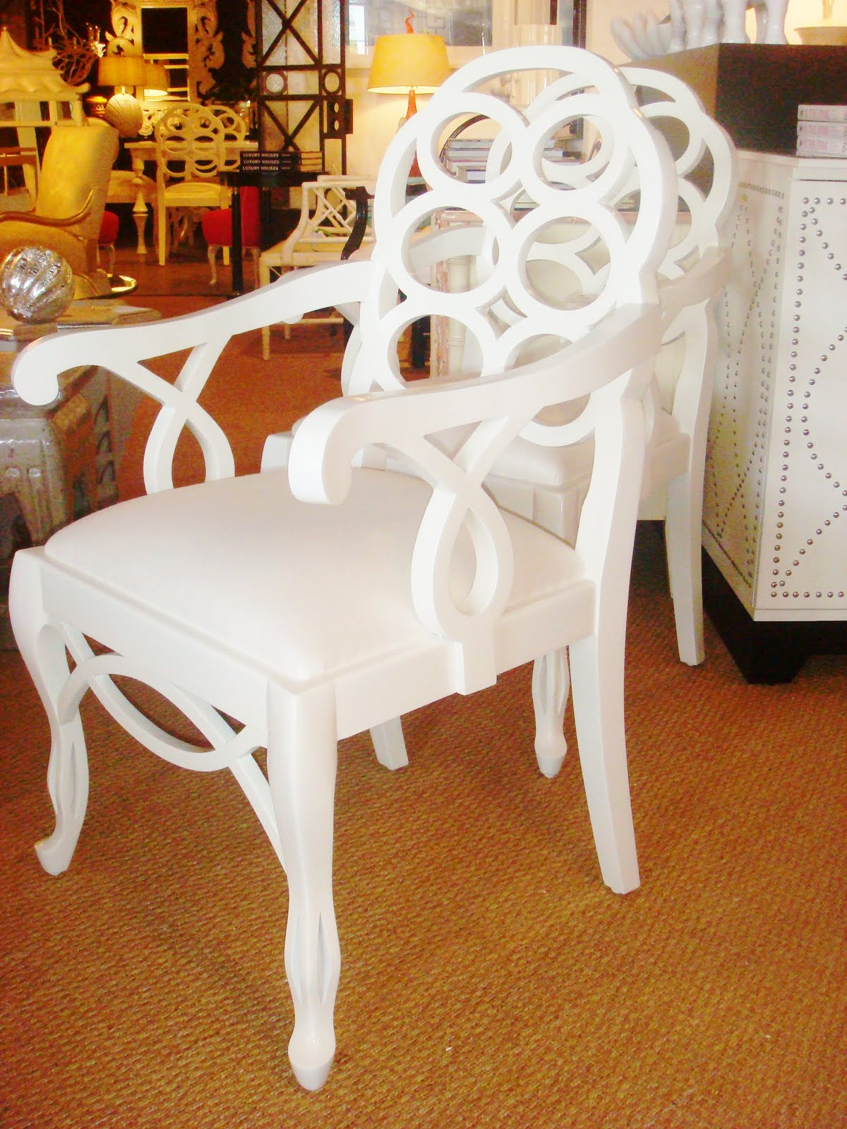 White Gloss Frances Elkins Loop Chair Reproduction