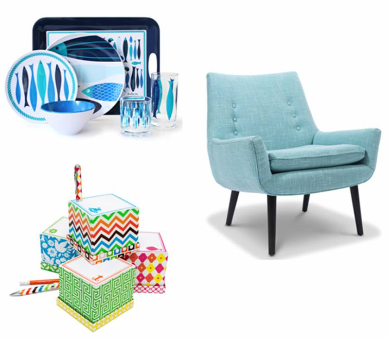 Blue outdoor dinnerware with fish, a blue armchair and cute stationary from Jonathan Adler