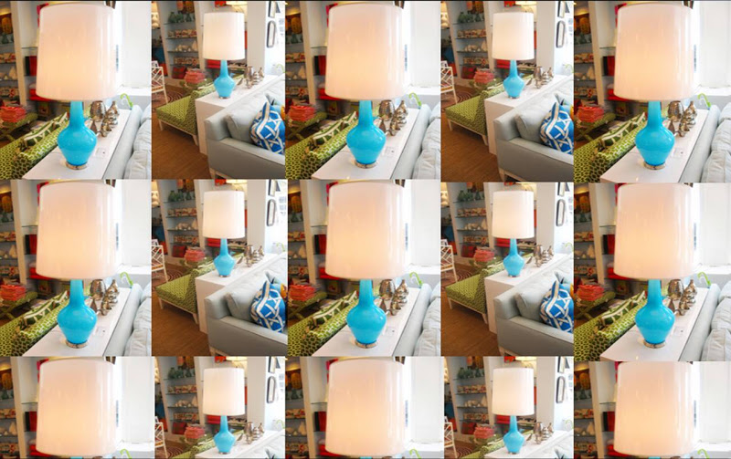 15 photos of a Jonathan Adler lamp with a bright blue base