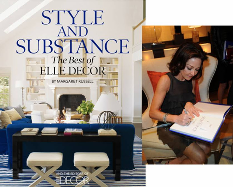 On the left: Style and Substance book cover; On the right: Margaret Russell, Editor-in-Chief, Elle Decor at book signing at William Sonoma Home in Los Angeles