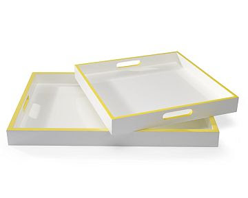 White lacquer tray with a yellow border from William Sonoma Home
