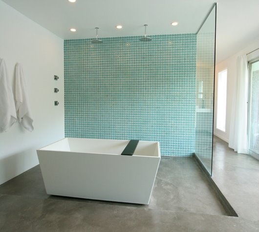 Cement Floor Bathroom: BEFORE AND AFTER: MASTERING A MODERN BATH AND SHOWER IN A