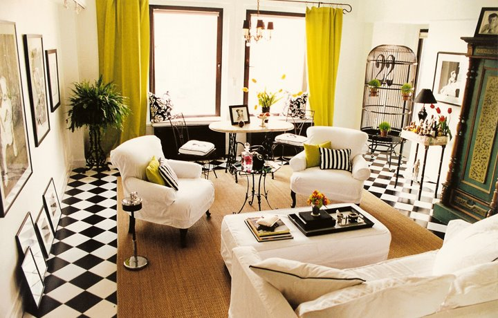 Perfect Living Room By Jeff Andrews Design With Black And White Checker Board Tile  Floor, White