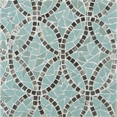 Interlocking ovals mosaic in silver blue and grey mineral from Erin Adams for Ann Sacks