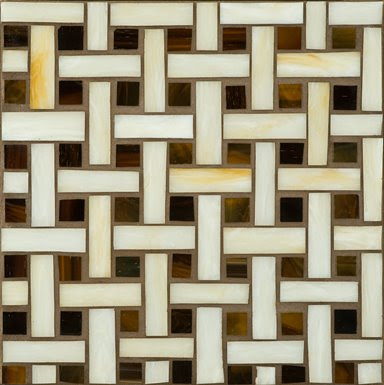 Erin Adams for Ann Sacks large basket weave glass mosaic tile in transparent light beige and dark brown
