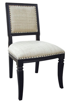black wood finish, raffia upholstery fabric side chair with carved detail from Mecox Gardens