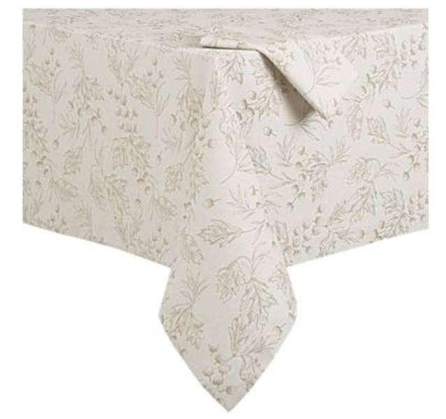 Cream Colored Tablecloth With Earth Toned Acorn And Leaf Motif From Crate U0026  Barrel