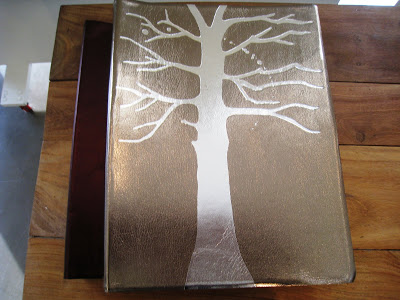 Metallic leather hand crafted photo album with tree motif from Persimmon