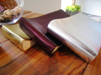 Small metallic gold, silver and plum photo albums from Persimmon