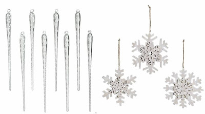 Icicle and snowflake Christmas tree ornaments from Crate & Barrel