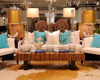 Living room vignette in Pieces furniture store in LA