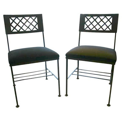 Pair of geometric metal side chairs from Pieces