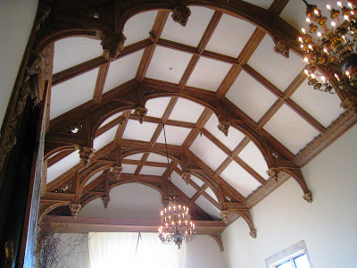 Barrel vaulted beamed ceiling in the Grand Salon Ballroom of the Greystone Mansion