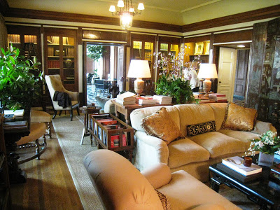 Greystone Mansion's library designed by David Phoenix and Rose Tarlow of Melrose House