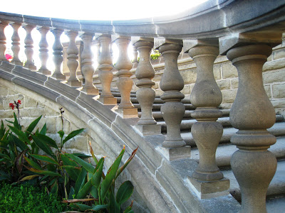 Classic Italianate stone balustrade on the Greystone Mansion grounds