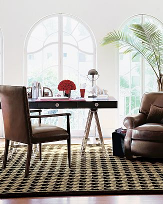 Brown and tan houndstooth rug from William Sonoma Home