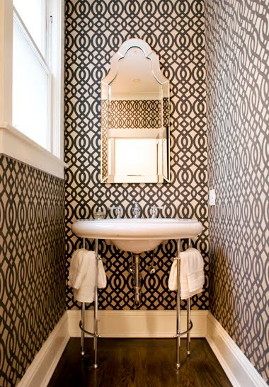 Powder room with graphic print wallpaper from DuBarry