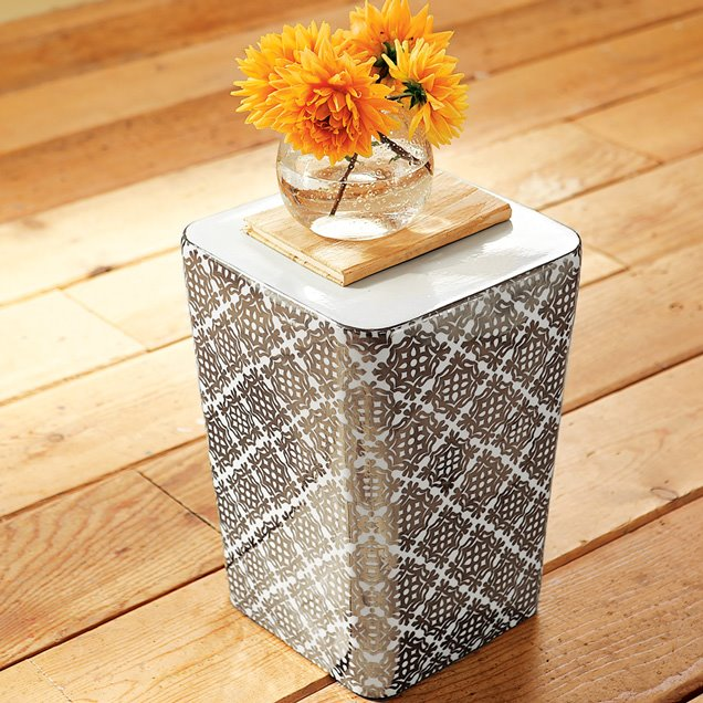 Square Porcelain Drum Table With Silver Moroccan Pattern Decals From West  Elm